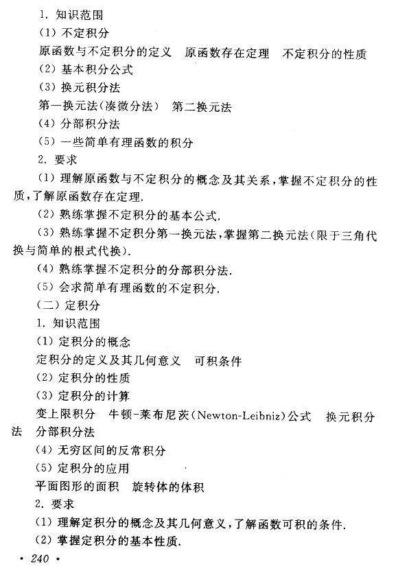 2019年上海市成人高考专升本《高等数学(一)》考试大纲