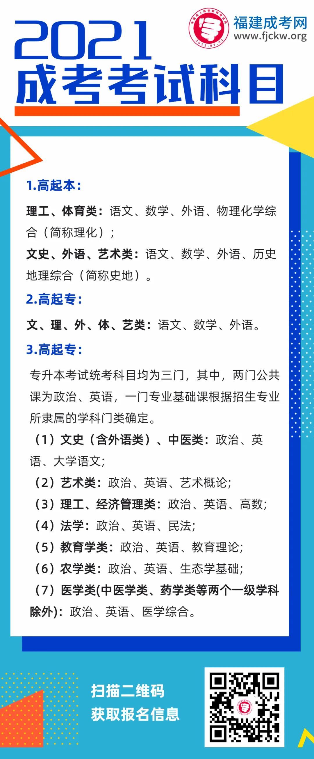 2021福建成人高考考试定为10月23、24日